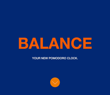 Screenshot of a website called Balance your new promodoro clock