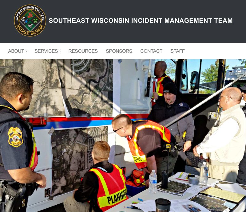 Screenshot of a website for the Southeast Wisconsin Incident Management Team